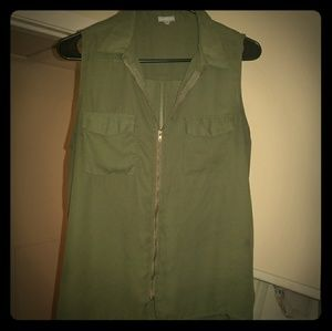 Charlotte Russe - Sleeveless Top - Olive Green